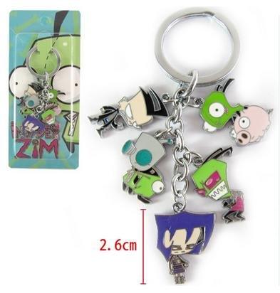 Invader Zim metal charm keychain