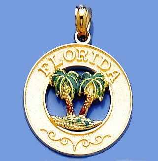 14k Gold Travel Necklace Charm Pendant, Florida Round Frame, Green Palm Trees
