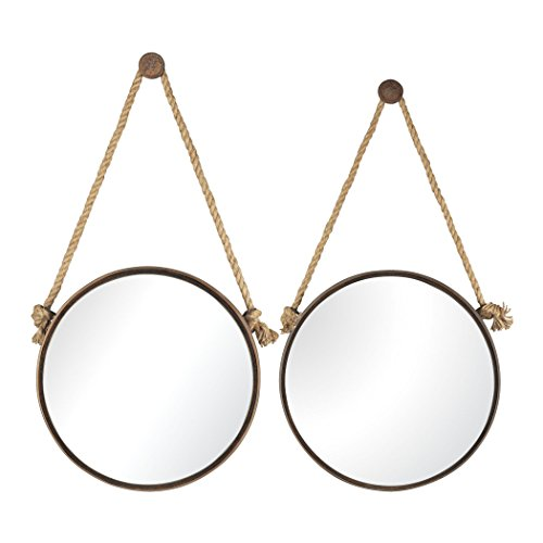 - Hamptons Collection Round Mirrors On Rope - Set of 2