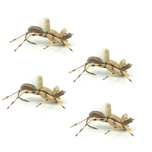 (Fat Albert Foam Body High Visibility Grasshopper Dry Fly Fishing Fly - 4 Flies - Hook Size 10 - Hopper Dropper Indicator Fly)