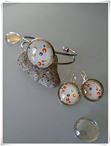 Goodnight cat Set Bangle Bracelet,Earrings with Round Pattern Beige,Orange,Blue Glass cabochon