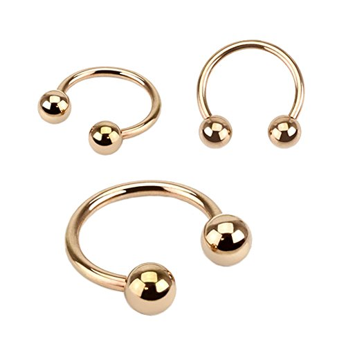 Fifth Cue Rose Gold IP Over 316L Surgical Steel Horseshoe Circular Barbell Ring - Choose Size (14GA 7/16