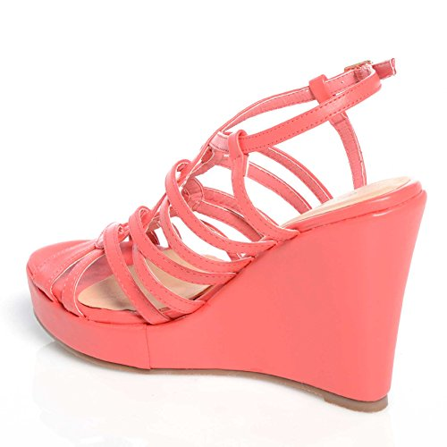CORE COLLECTION WOMEN LADIES FASHION HIGH HEEL WEDGES ANKLE STRAP PLATFORM SHOES SIZE 3-8 Coral Pu vHcwd