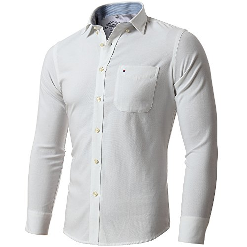FLY-HAWK-Mens-Oxford-Dress-Shirts-Slim-Fit-Button-Down-Casual-Shirts-for-WeddingPartyBusiness