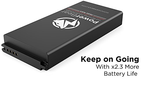 PowerBear Samsung Galaxy Note 4 Extended Battery 7500mAh Back Cover Protective circumstance Up to 23X Extra Battery power Black 24 Month service contract filter Protector enclosed Cases