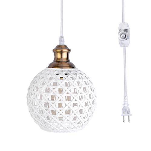 HMVPL Potable Plug in Pendant Lighting Fixtures, Industrial Ceramic Hanging Lamp with Long Hanging Cord and Dimmer Switch, Vintage Farmhouse Swag Chandelier for Above Kitchen Island Sink Dining Table