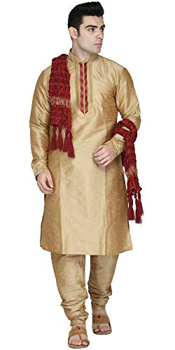 - SKAVIJ Men's Kurta Pajama Stole Set Indian Clothing Dress (Large, Brown)