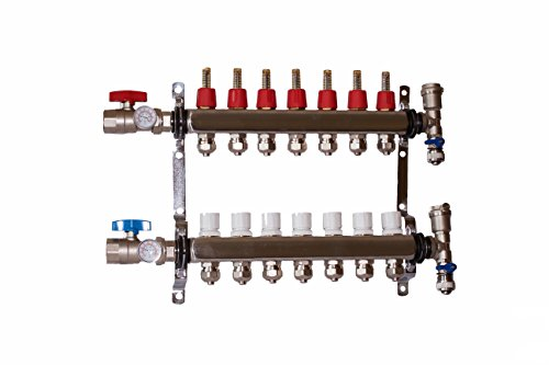 """7 LOOP/BRANCH 1/2"""" PEX MANIFOLD WITH BALL VALVE STAINLESS STEEL RADIANT HEATING"""