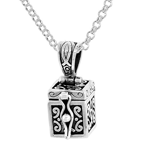 Sterling Silver Prayer Box Necklace Christian Fish Design Ichthus Motif, 3/8 inch 24 inch Chain Rol_1 (Motif Wax Seal)