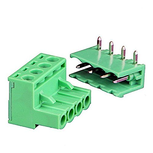 - TOOGOO(R) 9Pairs 4Pole 5.08mm Plug Type Pitch PCB Mount Screw Terminal Block Kit with Right Angle Pin, AC 300V 15A(IEC)/10A(UL)