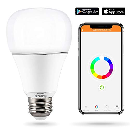 Smart WI-FI LED Light Bulb RGBW Color Changing E26 Base Smart Dimmable Light Bulb Smartphone Controlled Work with Amazon Alexa/ Google Home by LUXON by LUXON