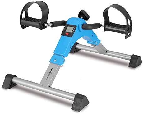 Foldable Pedal Exerciser, Under Desk Mini Exercise Bike Equipment with Electronic Display for Legs and Arms Workout