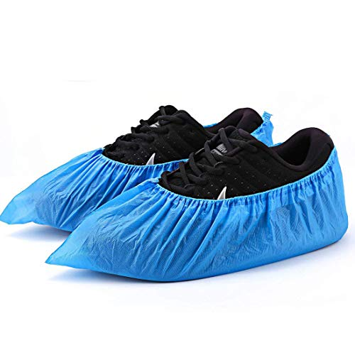 Shoe Covers Disposable -100 Pack(50 Pairs) Disposable Shoe & Boot Covers Waterproof Slip Resistant Shoe Booties (Large Size - up to US Men