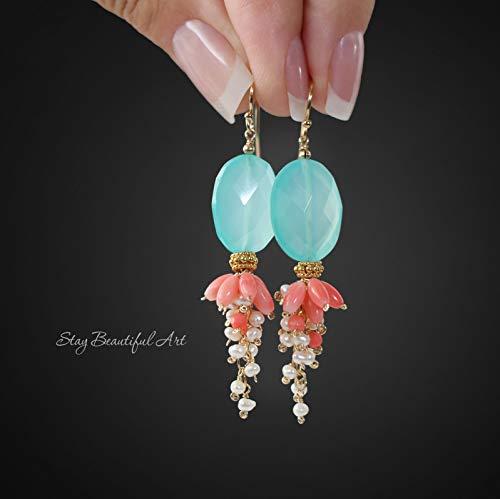 Pink Blue Dangle Earrings Long Gemstone Earrings Multi Stone Cluster Earrings Chalcedony Coral Pearl Earrings Gemstone Dangles