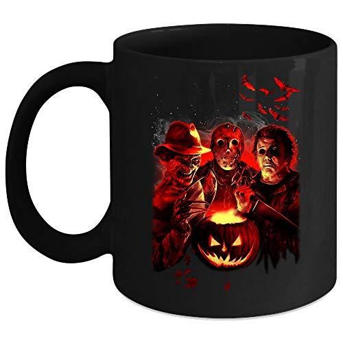 Freddy Krueger Freddy vs Jason Leatherface Mug, Happy Halloween Cup (Coffee Mug 11 Oz - Black)