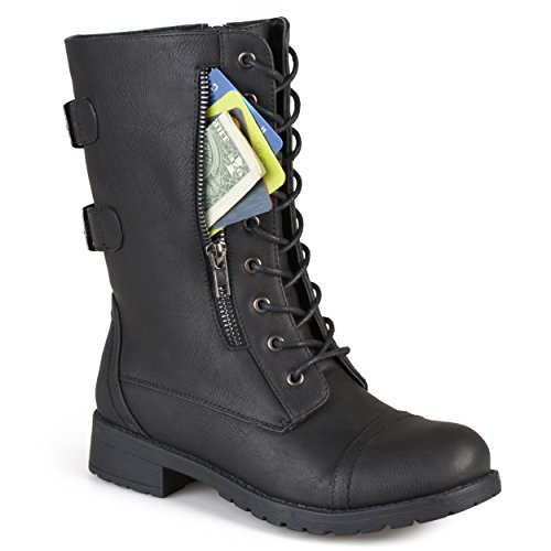Journee Collection Womens Buckle Pocket Lace-up Combat Boots Black sn51qzBvI