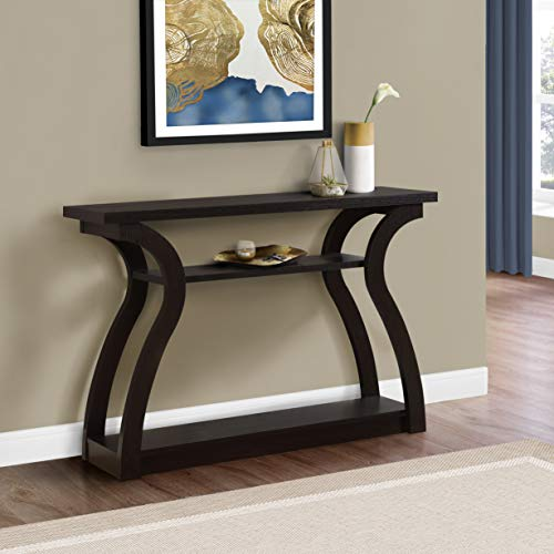 "Monarch Specialties 47"" Console Table - Sleek and Modern Accent Table for Your Home (Cappuccino/Dark Brown)"