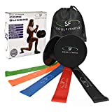 SoulFitness Resistance Bands Core Sliders – Exercise Loops for Physical Therapy – Dual Sided Gliding Discs – Home Workout Booty Bands – Perfect for 80 Day Obsession – Free Ebook