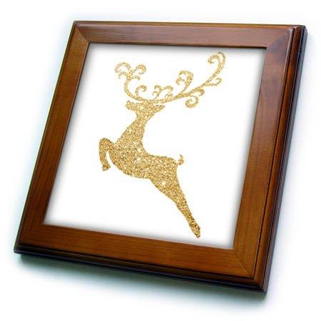 (3dRose Anne Marie Baugh - Christmas - Faux Gold Glitter Fancy Deer - 8x8 Framed Tile (ft_266633_1))