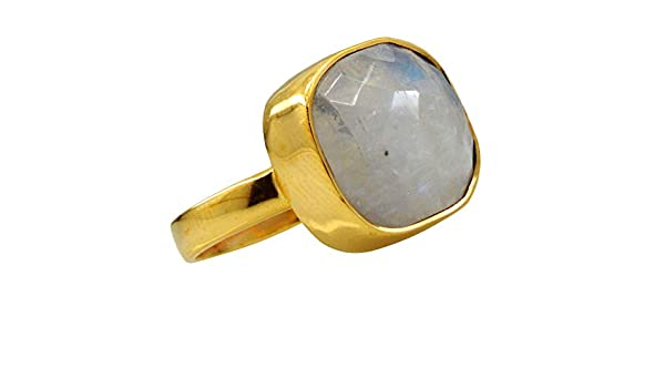 Jewelryonclick Natural Rainbow Moonstone Gold Plated Rings for Her Indian Handmade Jewelry Gift Size 4-12