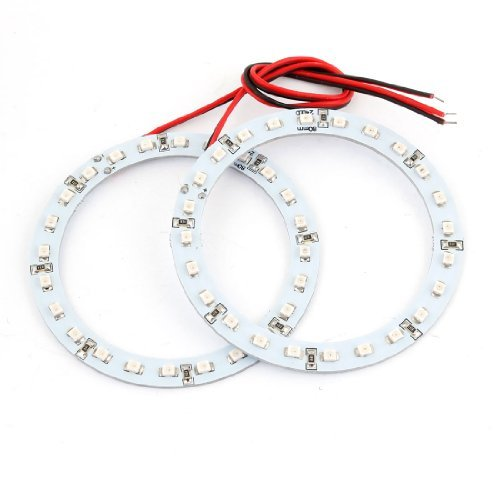 2 x 80mm 24 SMD LED Rü ck Angel Eyes Ringleuchte Rot DealMux