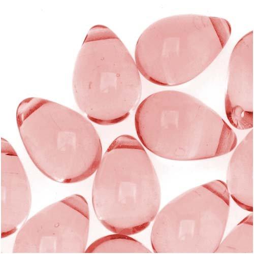 Jablonex Czech Glass 9mm Teardrops Rosaline Pink (50 Beads)