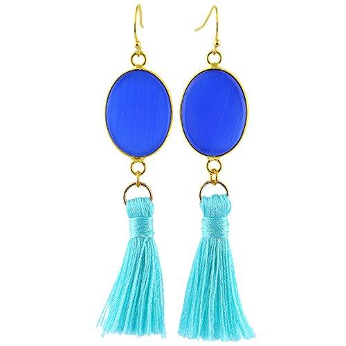 SUNYIK Blue Cat's Eye Stone Oval Tassel Dangle Earrings for (Cat Eye Oval Earrings)