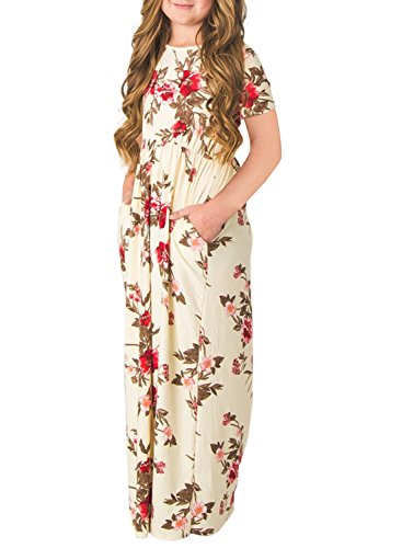 ZESICA Girls Floral Printed Short Sleeve Casual Pleated Long Maxi Dress with Pockets, XL, - Dress Printed Check