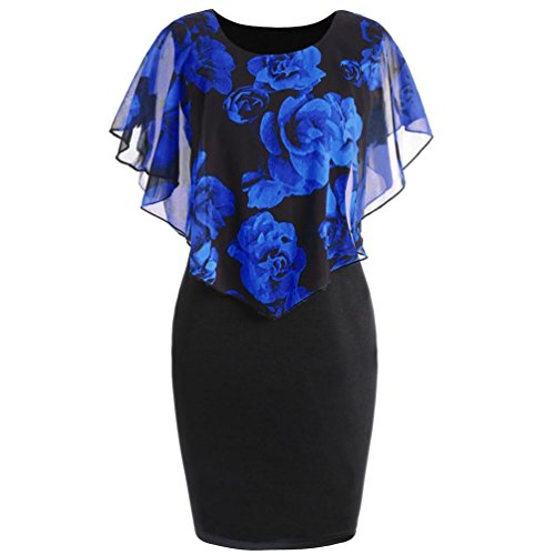 Syban Fashion Womens Casual Plus Size Rose Print Chiffon O-Neck Ruffles Mini Dress