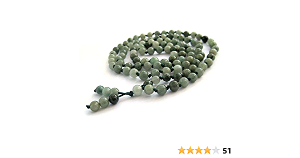 White Jade and Sunstone Hand-Knotted Mala 108 and Guru Bracelet Necklace with 4-mm Beads and a Beaded Tassel 1449