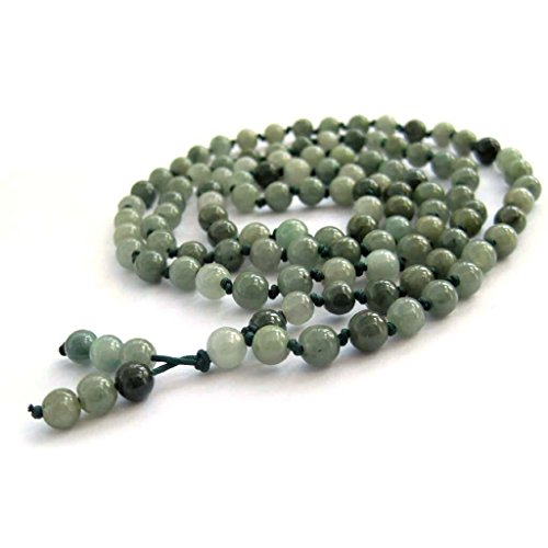 OVALBUY Hand Knotted 108 Jadeite Jade Beads Buddhist Prayer Japa Mala for Meditation