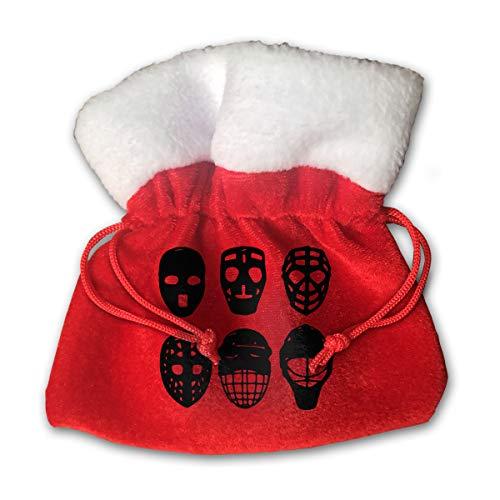 CYINO Personalized Santa Sack,Hockey Masks Evolution Portable Christmas Drawstring Gift Bag (Red)