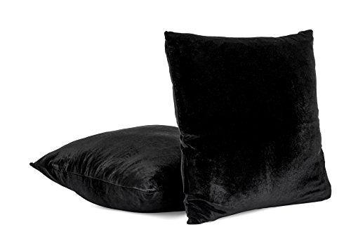 Euro Case (2-PC 26 x 26 Inches Soft Velvet Decorative Euro Pillow Cover, Throw Pillow Case (Black))