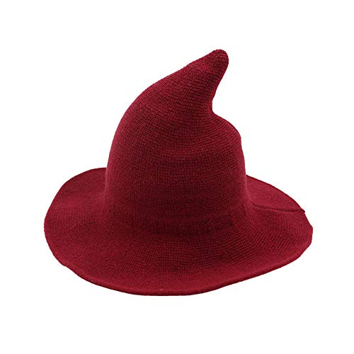 Fekey&JF Women's Witch Kinitted-Wool Hats, for Halloween Party Masquerade Cosplay Costume Accessory and Daily Red
