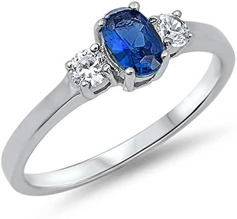 Sterling Silver CZ Simulated Sapphire and Simulated Diamond Oval Center Ring 6MM