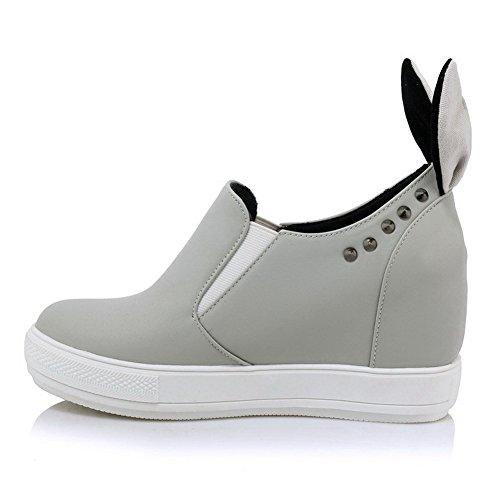 AllhqFashion Damen Weiches Material Rund Zehe Hoher Absatz Ziehen auf Rein Pumps Schuhe Grau