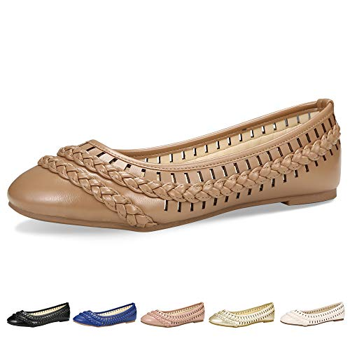 Women's Flats Comfortable Walking Driving Breath Pointed Ballerina Black Perforated Shoes(11 B(M) US /CN43 /10.4'', Coffee) ()