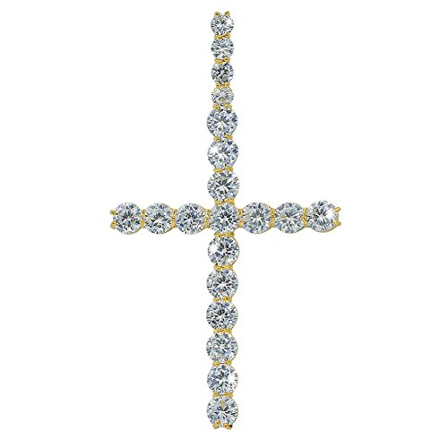 (JINAO Cubic Zircon Round Cut Cross 18K Gold Plated Diamond Hiphop Pendant for)