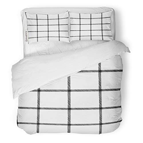Tarolo Bedding Duvet Cover Set Pattern Windowpane Sketchy Plaid Black Cad Check Drawing Flat 3 Piece Twin 68