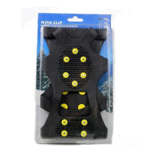 Estone New Snow Ice Klettern Rutschfeste Spikes Grips Steigeisen Cleats 10-stud Schuhe Cover Black+Yellow xl