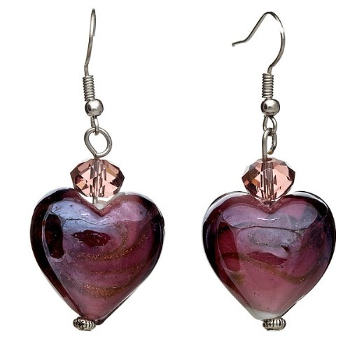 "Murano Venetian Ring (Lova Jewelry ""Purple Hearts"" Hand-Blown Venetian Murano Glass Drop Earrings)"