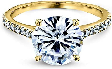Kobelli Basket Cathedral 9mm Moissanite Ring 14k Yellow Gold (FG/VS, GH/I)