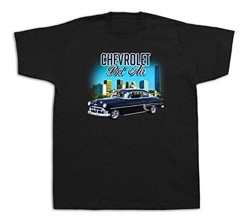 (New Mens cotton T-shirt print 1955 Blue Chevrolet Bel Air hardtop car)