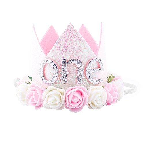 Baby Girl 1st Birthday Rose Flower Tiara Crown Headband Photo Props Party Supplies -