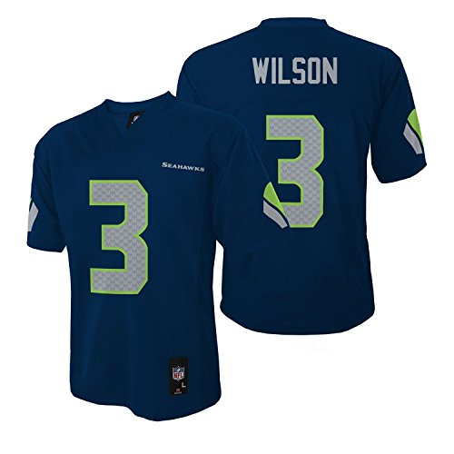 Youth Navy Blue Player - Seattle Seahawks Russell Wilson Navy Blue NFL Youth 2016-17 Season Mid-Tier Jersey (Medium 10-12)
