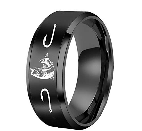 (THSTV Ring Fun Hobby Men's Ring Cross-Border Personality Titanium Steel Jewelry Wholesale (Color : Black, Size : 9th))