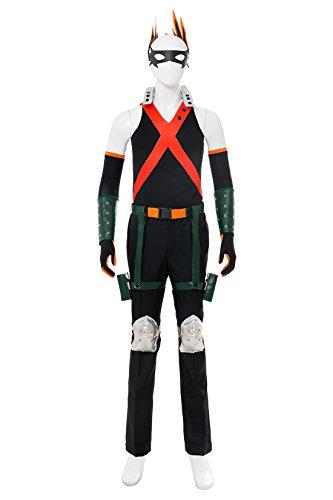 NoveltyBoy BNHA Boku No Hero My Hero Academia Katsuki Bakugou Battle Suit Cosplay Costume Tights (X-Small, Black) by NoveltyBoy