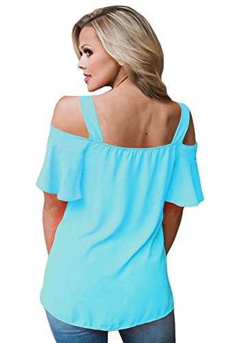 Neue Damen Plus Größe Blau Kalte Schulter Top mit Rüschen Ärmeln T-Shirt Club tragen Tops Casual Wear Kleidung Größe XL UK 14�?6EU 42�?4