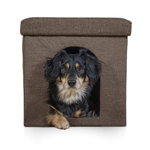 Furhaven Pet Dog Bed & Cat Bed House | Ottoman Footstool Collapsible Living Room Pet House Condo for Cats & Small Dogs, Coconut Brown, Small