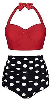 Cassiopeia Women's Retro Vintage Polka Dot Underwire High Waisted Swimwear Bikini